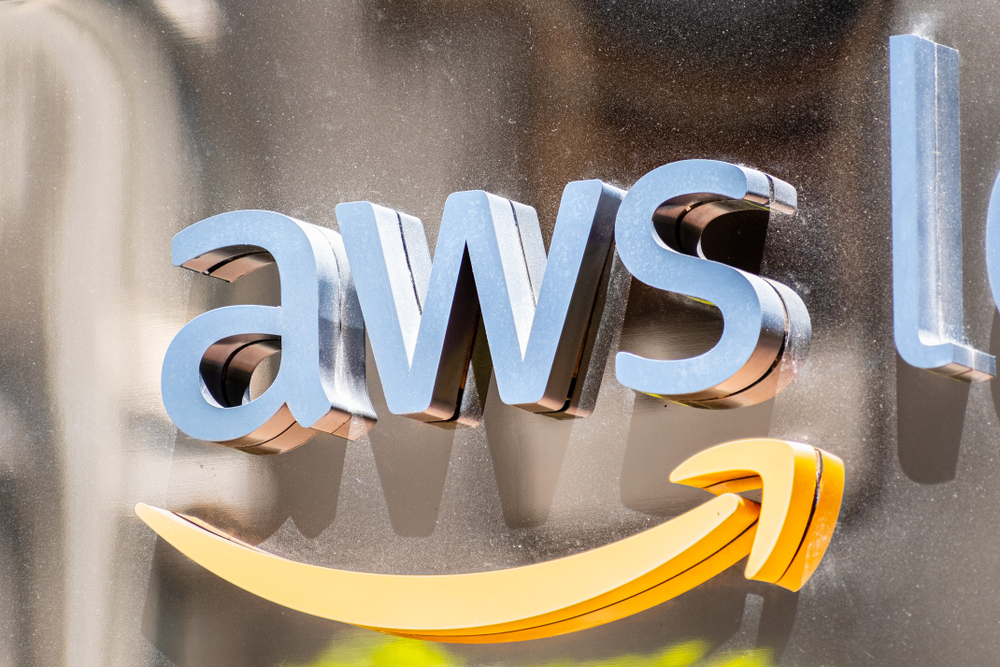 Close up of AWS sign at their offices in SOMA district; Amazon Web Services (AWS) is a subsidiary of Amazon that provides on-demand cloud computing platforms